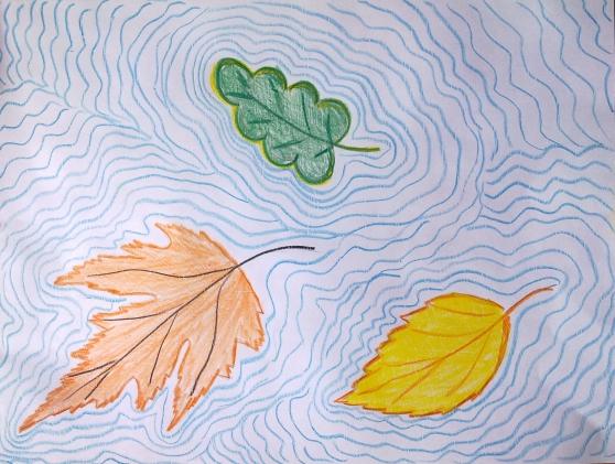 Lichte tekeningen over de natuur in koude kleuren. decoratief